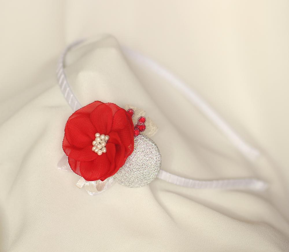 Диадема червено с бял брокат