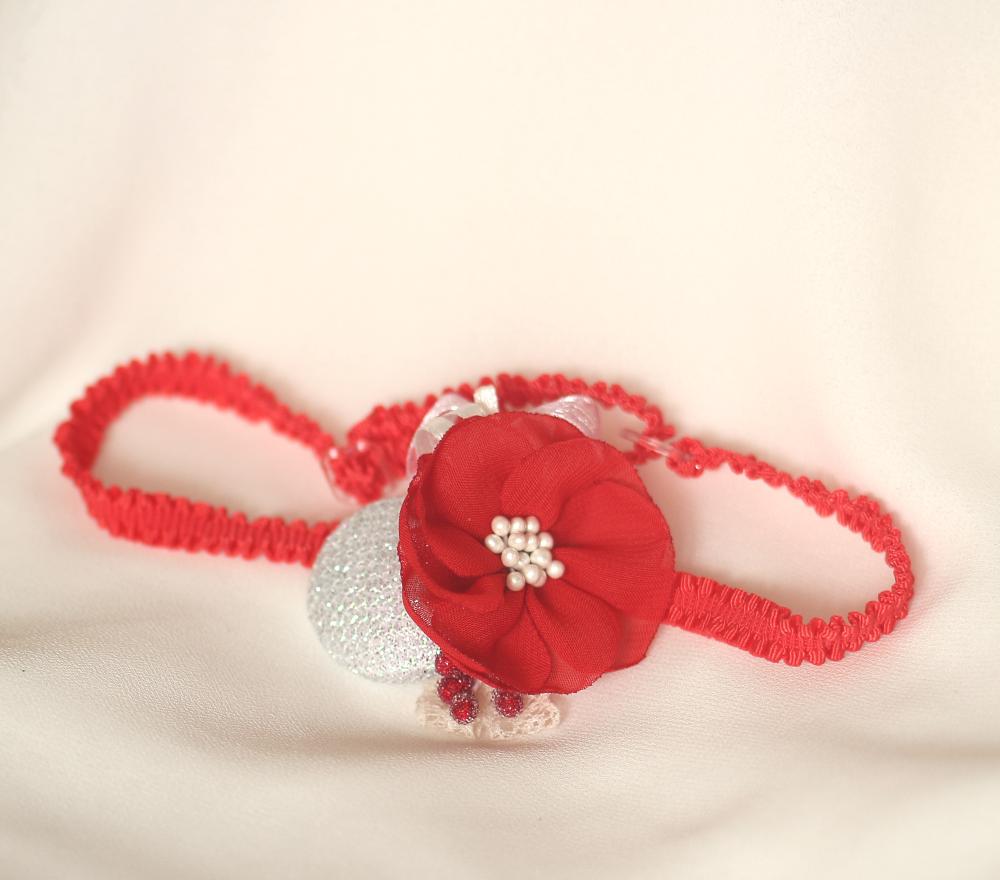 Лента за бебе в червено и бял брокат