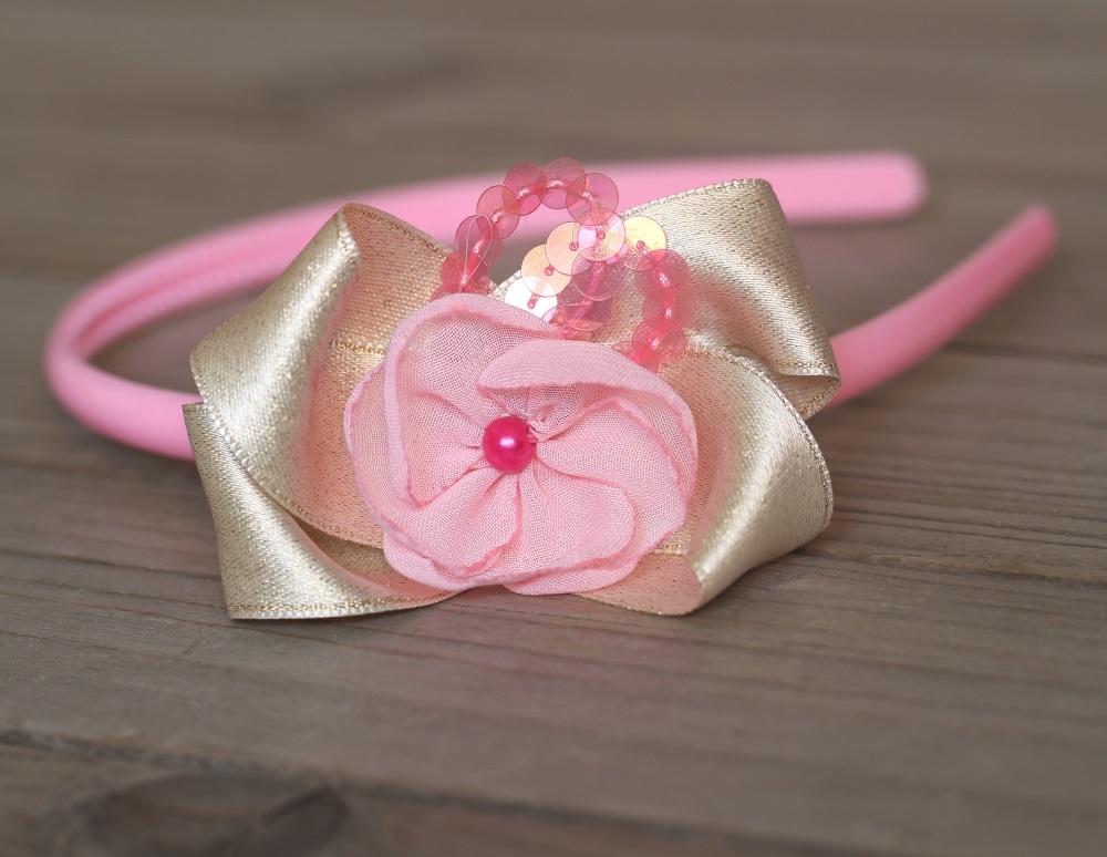 Диадема розово и златно