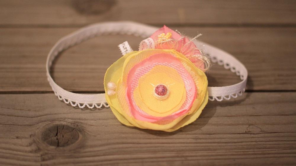 лента за бебе в жълто и розово