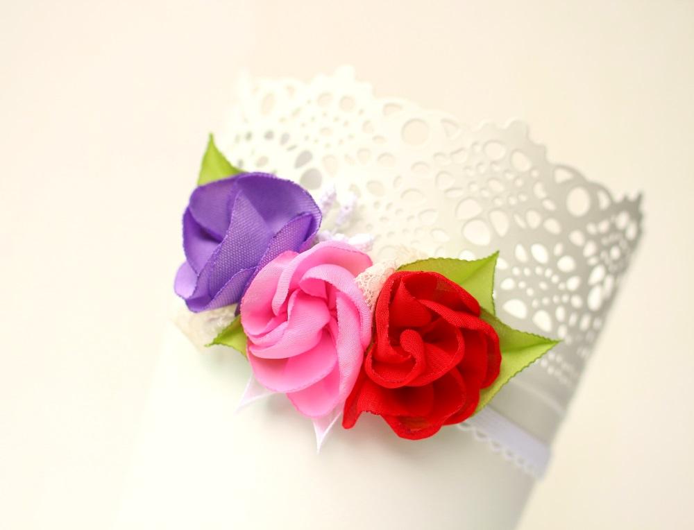 Лента за бебе в червено, розово и лилаво