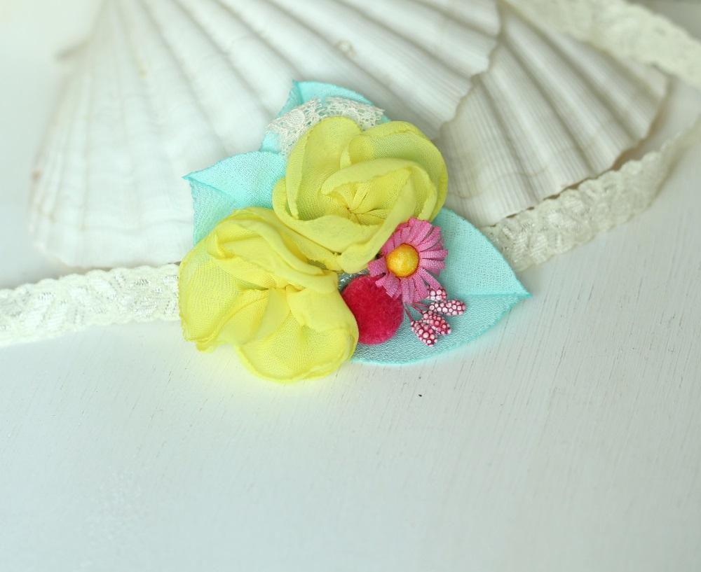 Лента за бебе в жълто, розово и тюркоаз