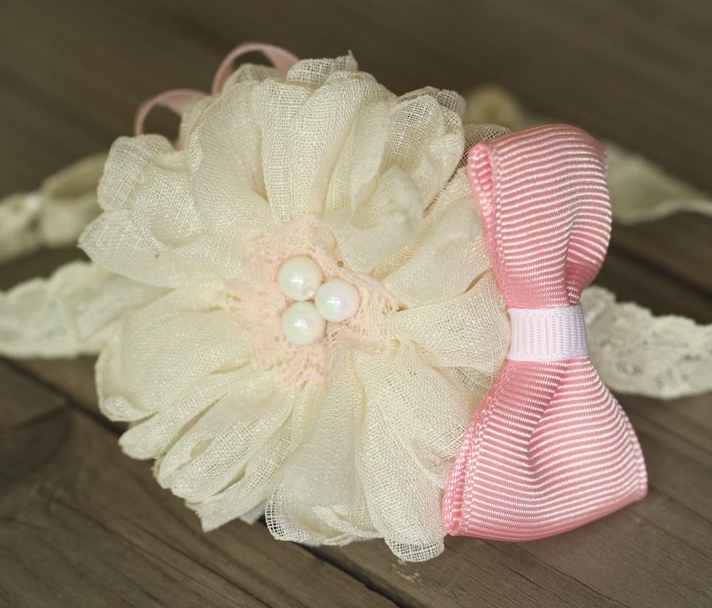 Лента за бебе в екрю и розово