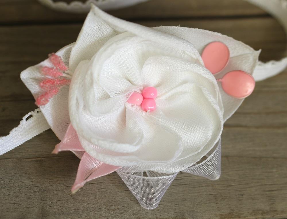 Ластична лента розово и бяло