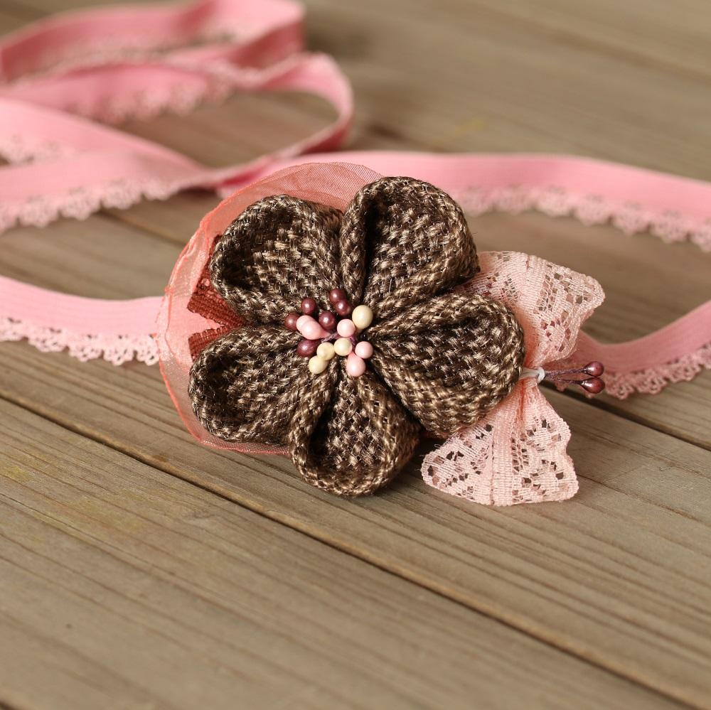 лента за бебе в розово и кафяво