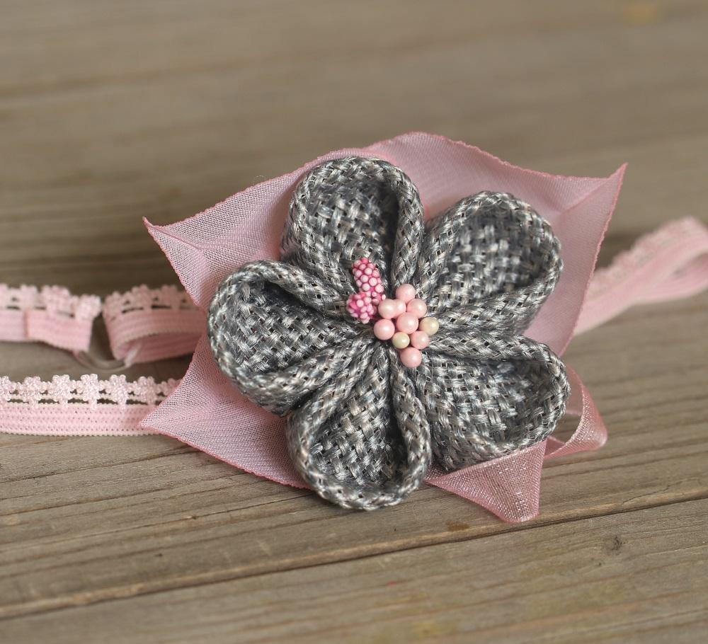 Лента сиво и розово