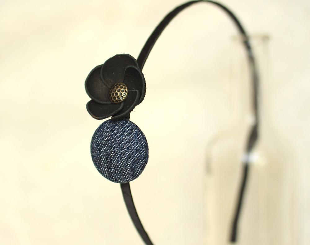 Облечена диадема деним с черно цвете