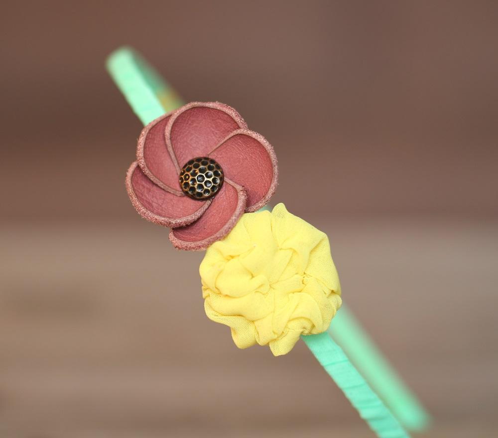 диадема с кожено цвете розово