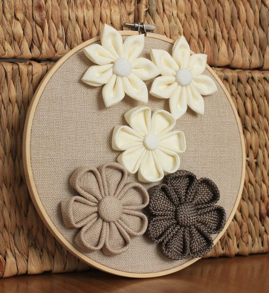 Пано за стена с цветя бежово и кафяво